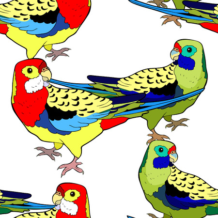 seamless pattern exotic tropics parrot roseella green vector illustration