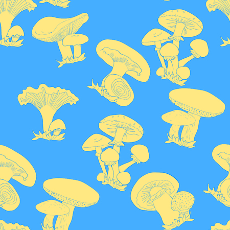 Seamless pattern mushrooms russula, chanterelle, champignon, greasers, honey agaric. vector illustration.