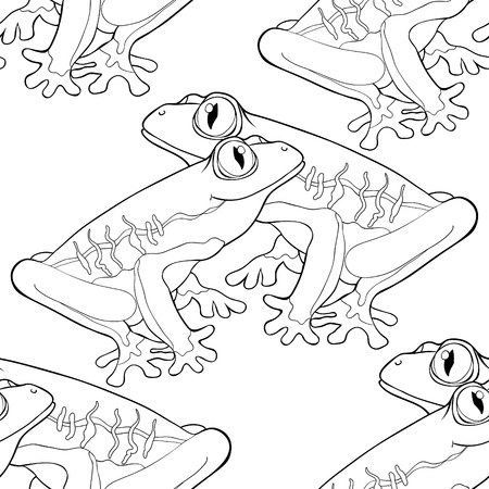 coloring seamless pattern woody frog with red-eyed  vector illustration