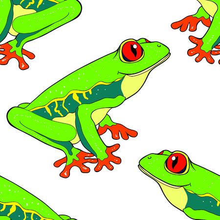 Seamless pattern woody frog is red-eyed vector illustration.