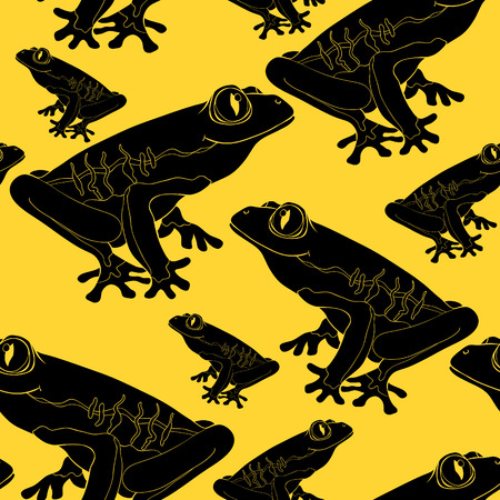 Seamless pattern woody frog with red-eyed vector illustration.