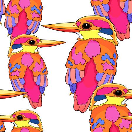 원활한 패턴 말레이 숲 킹 피셔는 새 벡터 일러스트 레이 션 일러스트