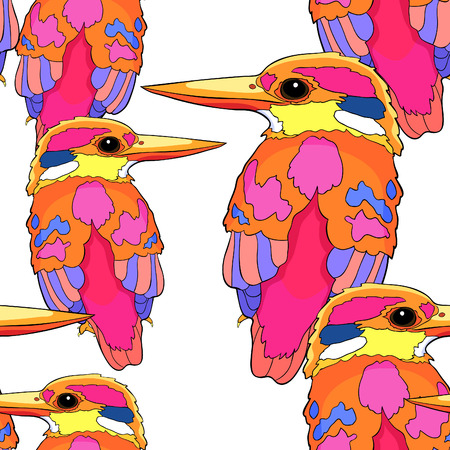 seamless pattern Malay Forest Kingfisher is a bird  vector illustration