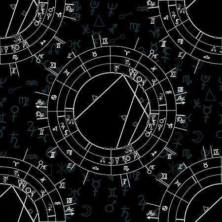 Seamless pattern natal astrological chart, zodiac signs vector illustration Vektorové ilustrace