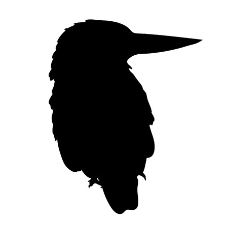 silhouette Malay Forest Kingfisher is a bird  vector illustration Çizim