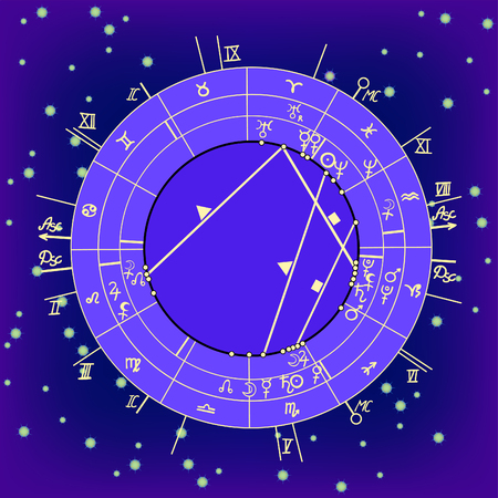 synastry natal astrological chart, zodiac signs on night starry sky  vector illustration Illustration