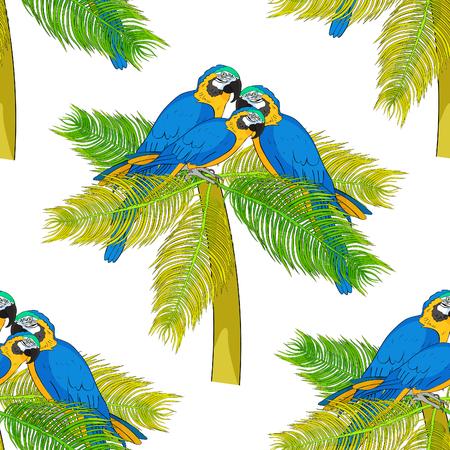 Seamless pattern Macaw a parrot yellowish blue araruna  on palm treeVector illustration Ilustração