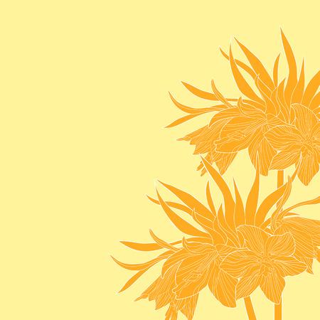 Card Fritillaria imperialis flower paradise tree vector illustration. Illustration
