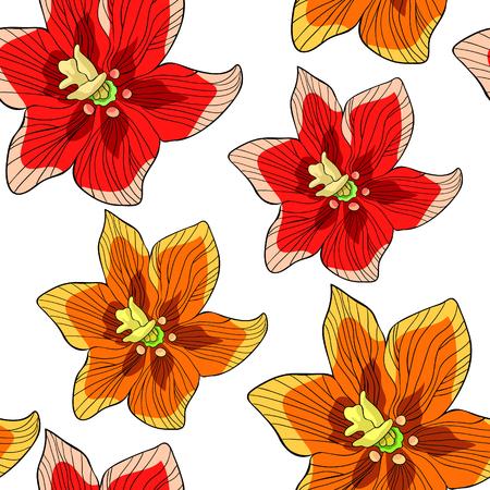 seamless pattern  Fritillaria imperialis flower paradise tree  vector illustration Illustration