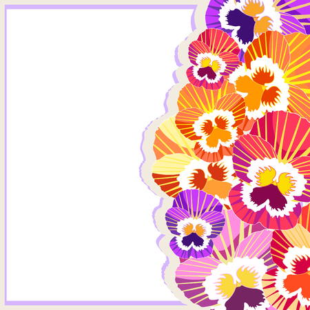 The is card pansy flower. Vector illustration