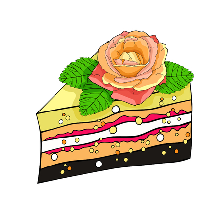 Cake a piece with a rose flower vector illustration