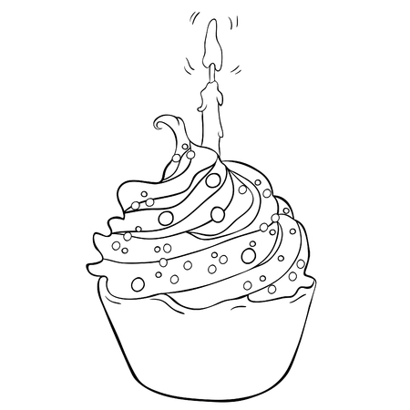 Coloring cake on a happy holiday with candle burns vector illustration Stock Illustratie