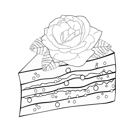 Coloring cake a piece with a rose flower vector illustration