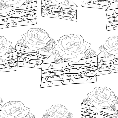 Clloring seamless pattern cake a piece with a rose flower vector illustration
