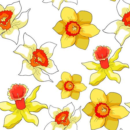 Seamless pattern is daffodil flower spring vector illustration Standard-Bild - 100745783
