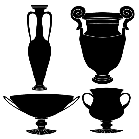 Set silhouette Greek vase with ornaments vector illustration Illustration