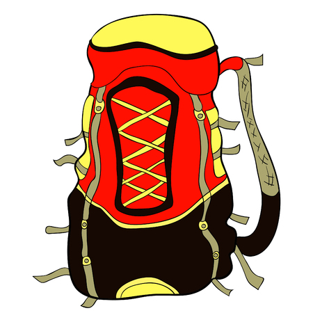 Backpack for hiking in nature vector illustration
