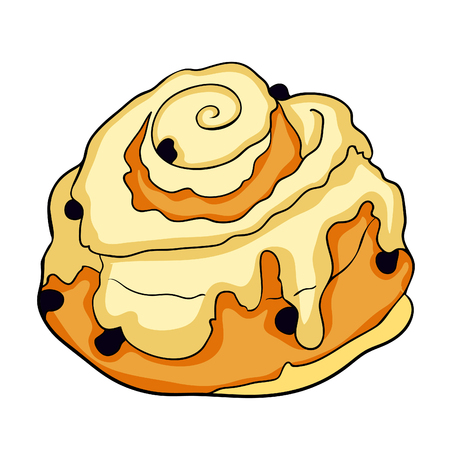 bun is a sweet raisin and icing  vector  illustration