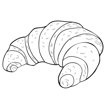 coloring  french croissant bun sweet  vector illustration Illustration