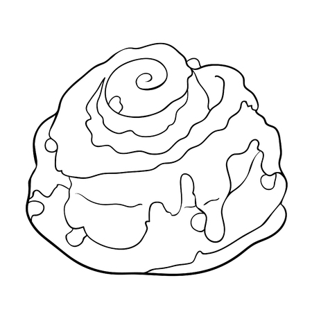 coloring bun is a sweet raisin and icing  vector  illustration