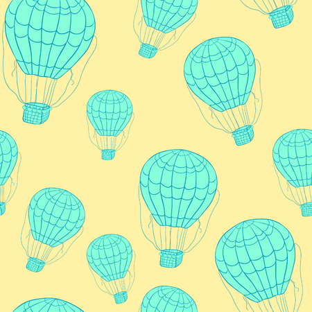 seamless pattern air flying balloon with basket vector illustration