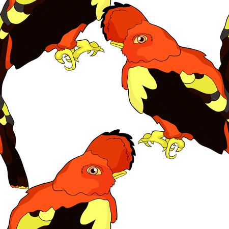 seamless pattern bird of paradise, a rocky cock vector illustration Illustration
