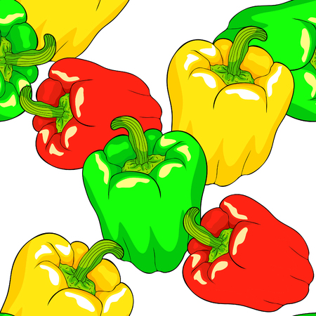 seamless pattern Vegetable pepper is a red green sweet vegetarian  vector illustration