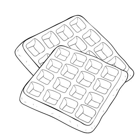 kleurende wafels een Weense vierkante vectorillustratie van het bakkerijproduct