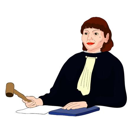 Juez, profesión, mujer de mediana edad, con, cabello castaño, vector, ilustración