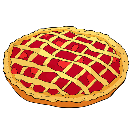 Round cake with berries lattice of dough bakery product  vector illustration
