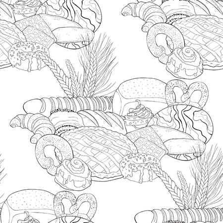 coloring seamless pattern bakery products  assortment  vector illustration Illustration