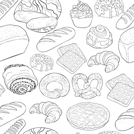 coloring seamless pattern bakery products in the assortment  vector illustration