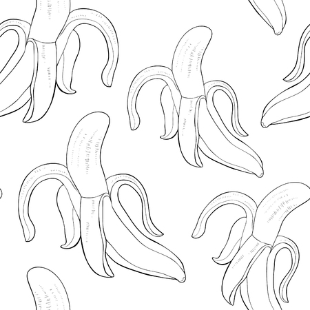 coloring seamless pattern  exotic tropical fruit is a banana uncovered in the skin  vector illustration  イラスト・ベクター素材