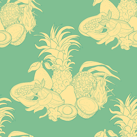 seamless pattern   fruits pandan banana avocado coconut papaya pineapple, Pitahaya, star carambola  vector illustration