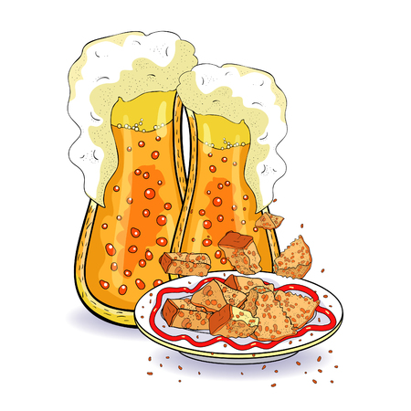 bread croutons and bubbles in a glass of beer vector illustration Imagens - 116814475
