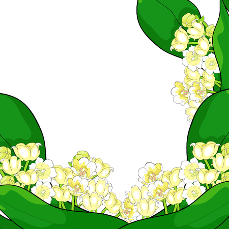 card flower lily of the valley vector illustration
