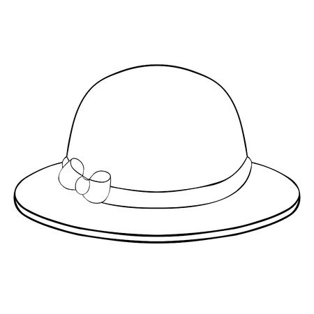 coloring female headdress hat with a bow vector illustration Ilustração