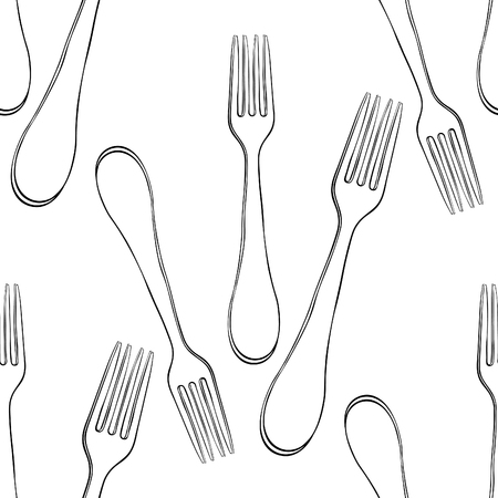 coloring seamless pattern cutlery fork for food  vector illustration Imagens - 116814483
