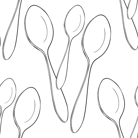 coloring seamless pattern cutlery spoon for food vector illustration Ilustração