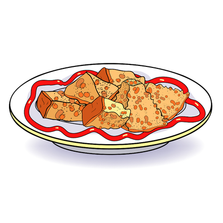 crockery bowl dish with appetizer bread croutons  vector illustration