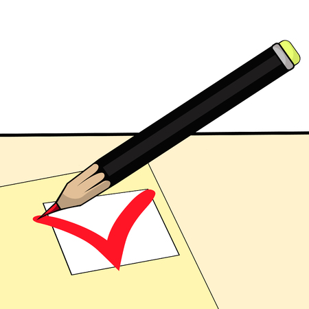 mark to select answer in the questionnaire to pencil vector illustration