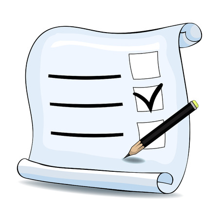 mark to select the answer in the questionnaire to pencil vector illustration