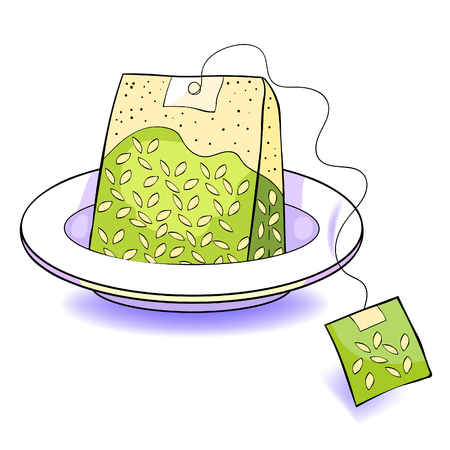 Natural product is a pack of green tea on a plate. vector illustration