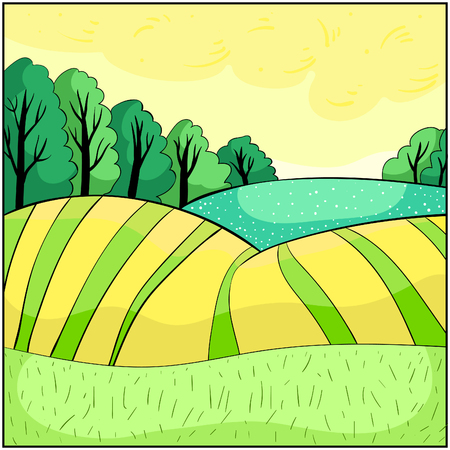 Nature, landscape with hills summer vector illustration