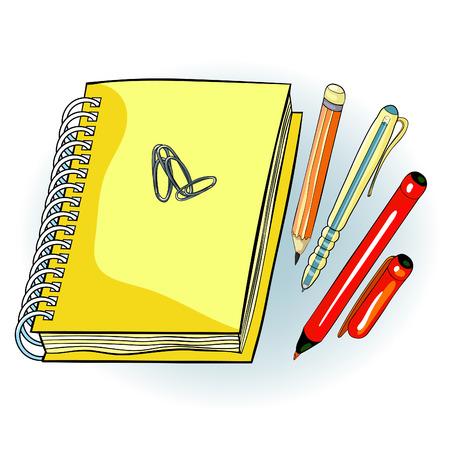 notepad on helix pencil pen clip.  vector illustration