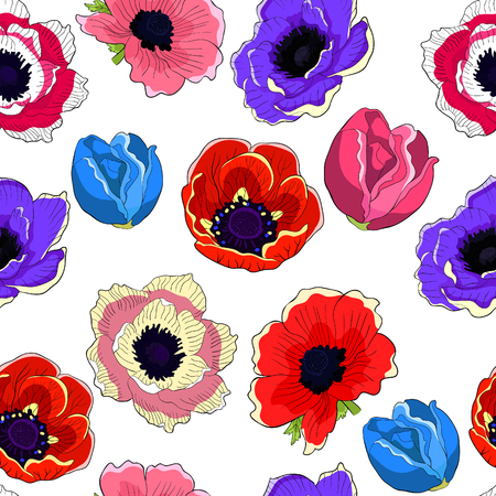 seamless pattern  flower bloom japanese anemone vector illustration Ilustração