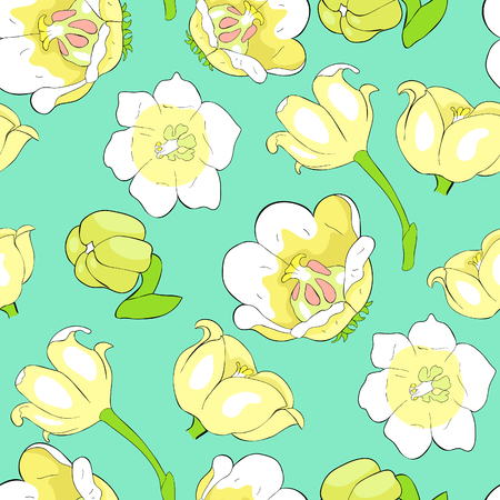 seamless pattern  flower lily of  valley vector illustration