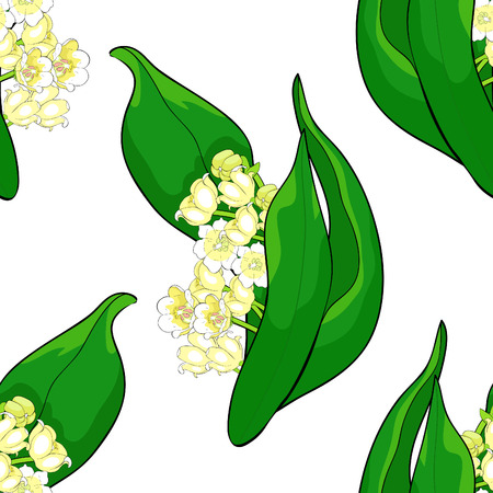 seamless pattern  flower lily of the valley vector illustration
