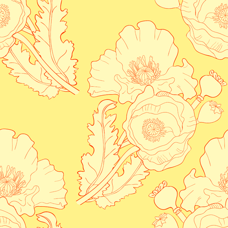 seamless pattern  poppy flower bud with seeds  vector illustration
