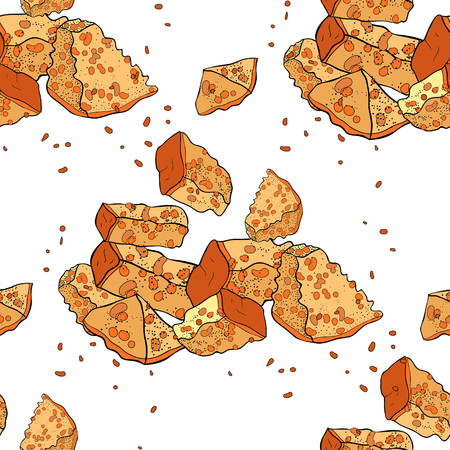 seamless pattern  with appetizer bread croutons. vector illustration  イラスト・ベクター素材